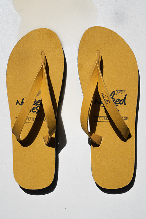 Yellow 'Naked Toes' Flip Flops woman